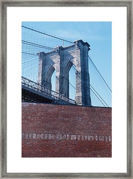 Brooklyn Bridge Behind Wall Framed Print
