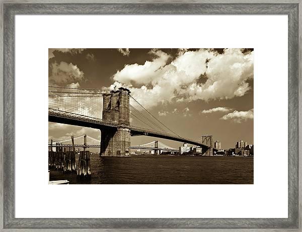 Brooklyn Bridge In Sepia Framed Print by Gcoles