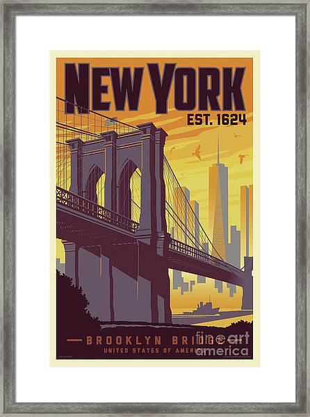 Brooklyn Bridge Poster - New York Vintage Framed Print