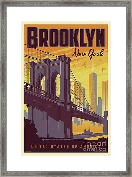 Brooklyn Poster - Vintage Brooklyn Bridge Framed Print