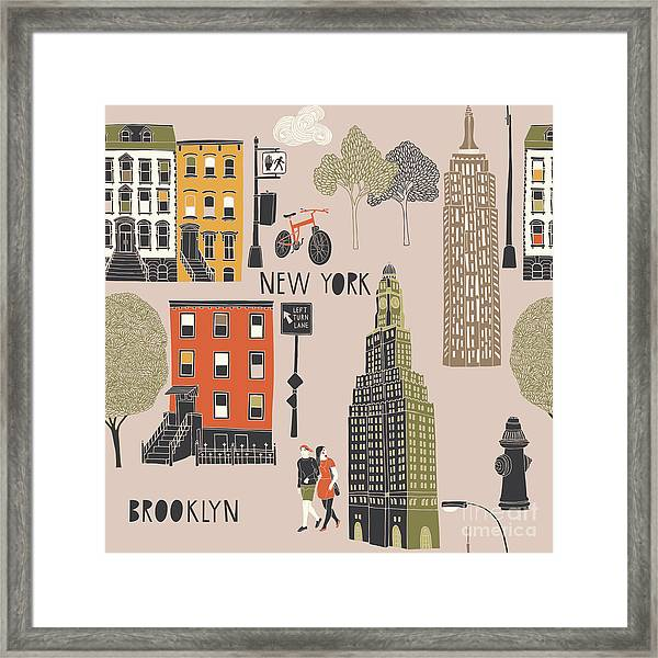 Brooklyn Seamless Pattern Framed Print