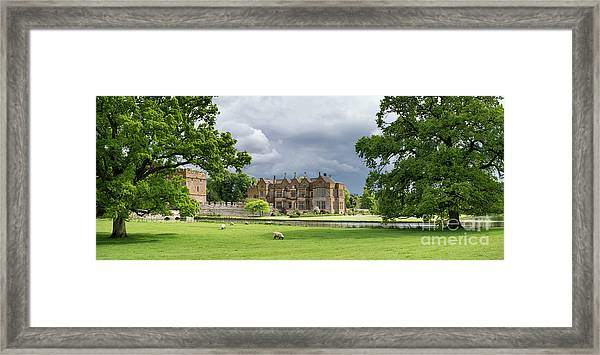 Broughton Castle In Spring Panoramic Framed Print by Tim Gainey