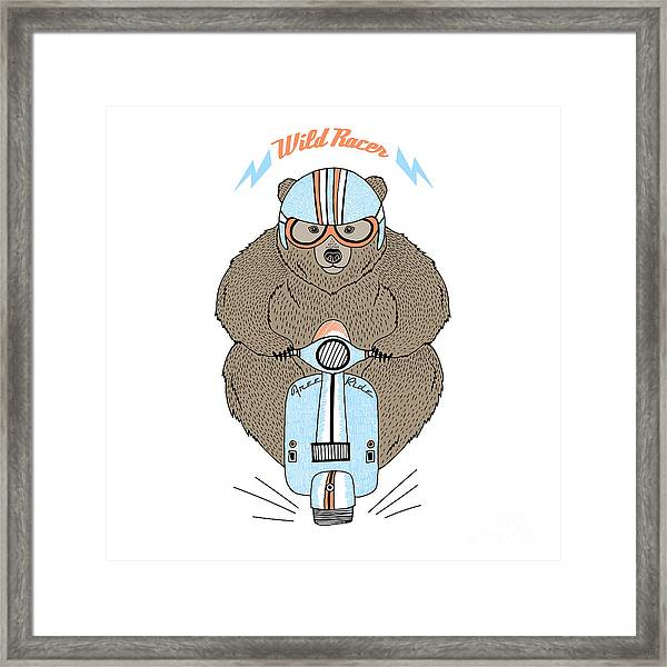 Brown Bear Driving Scooter, Decorative Framed Print
