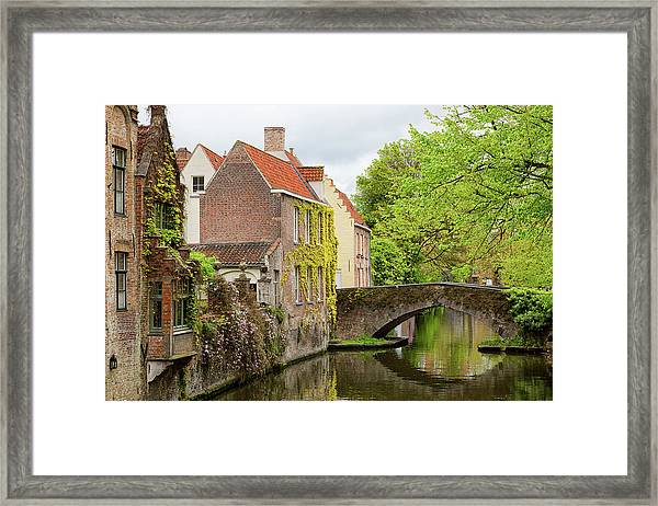 Bruges Footbridge Over Canal Framed Print