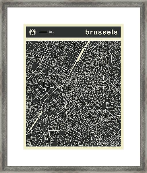 Brussels Map 3 Framed Print