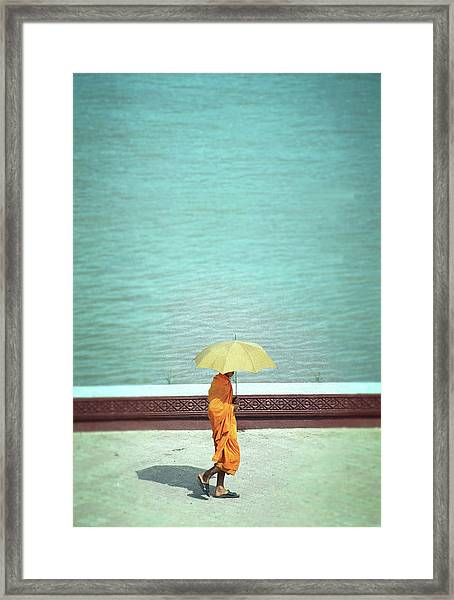 Buddhist Monk In Cambodia Framed Print by Kelly Loughlin Photography