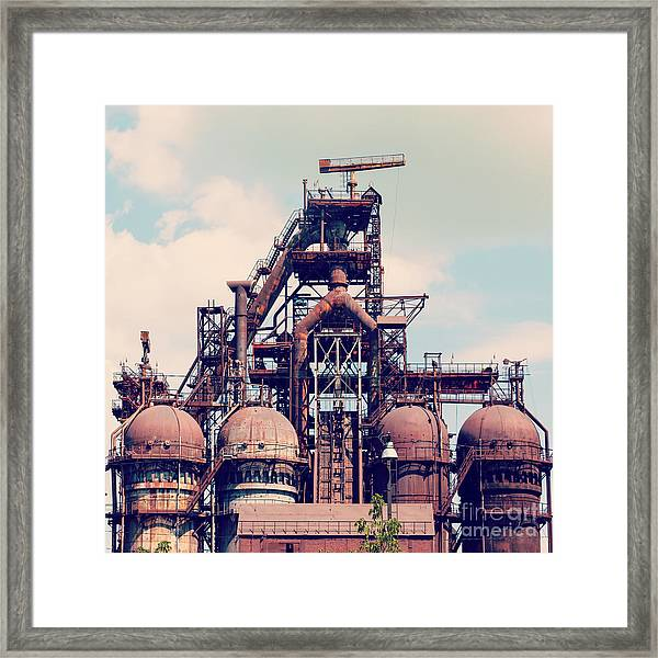 Building A Blast Furnace At The Steel Framed Print