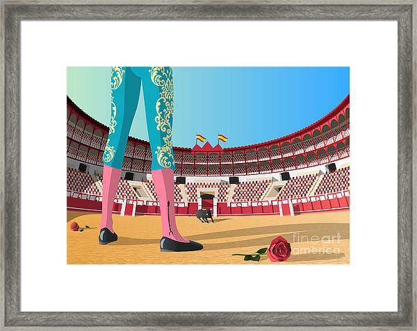 Bullfighter Versus Angry Bull In Arena Framed Print