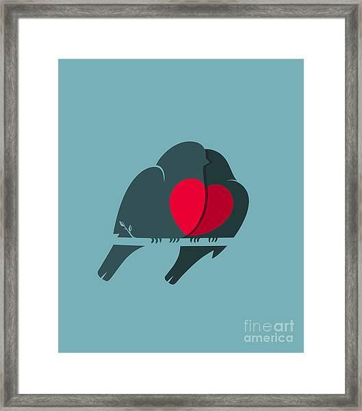 Bullfinch Birds Heart Love Couple Framed Print