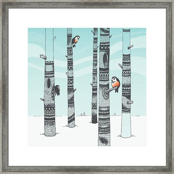 Bullfinches In Carving Woods Framed Print by Kitigan