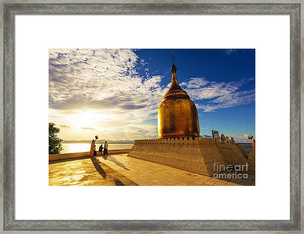 Buphaya Pagoda In Bagan, Myanmar At Framed Print by Richard Yoshida