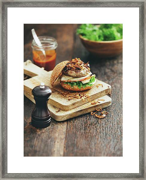 Burger With Lettuce, Tomato, Meat And Framed Print by Eugene Mymrin