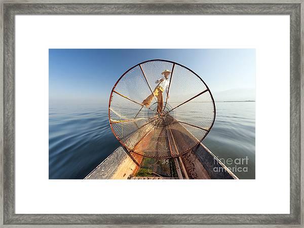 Burma Myanmar Inle Lake Fisherman On Framed Print