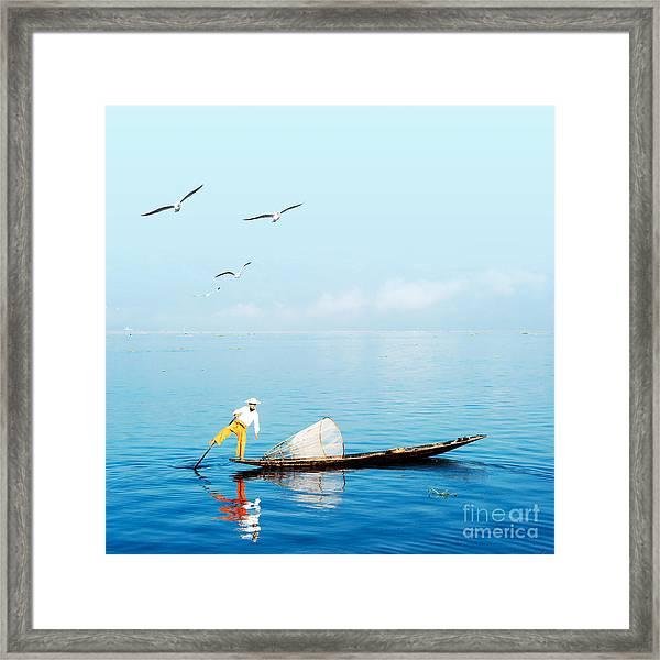 Burma Myanmar Inle Lake Traditional Framed Print