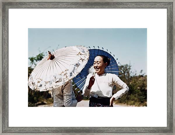 Burmese Parasols Framed Print