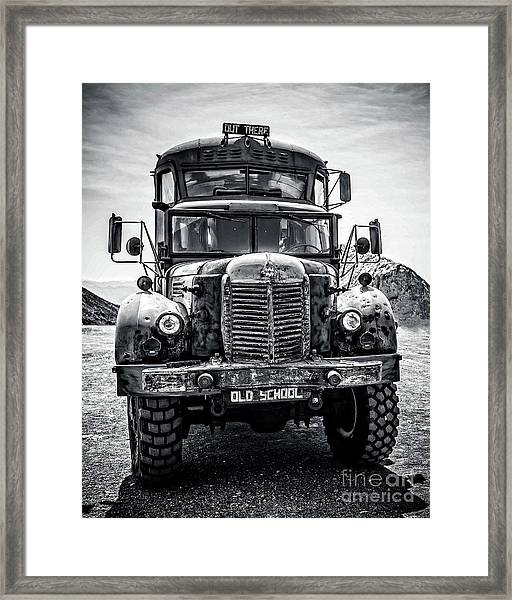 Burning Man Type School Bus Framed Print