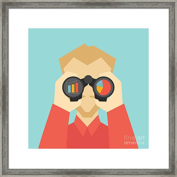 Business Vision Concept. Man Looking Framed Print