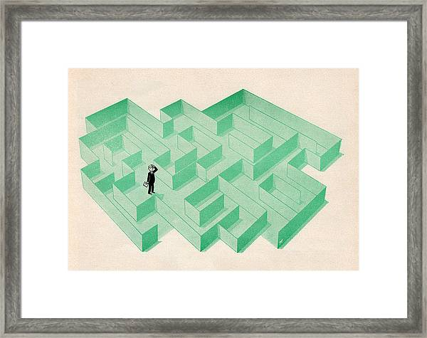 Businessman Trapped In Maze Framed Print by Graphicaartis