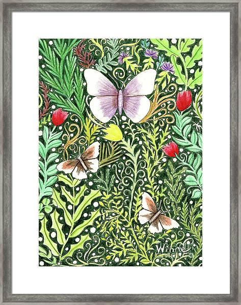 Butterflies In The Millefleurs Framed Print