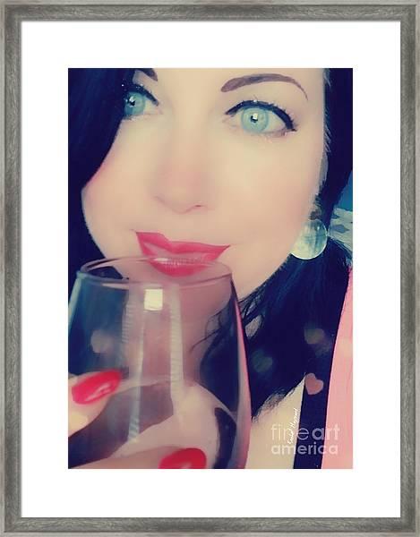 Framed Print featuring the mixed media Buveur De Vin by Rachel Maynard