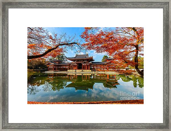 Byodo-in Temple. Kyoto,buddhist Temple Framed Print