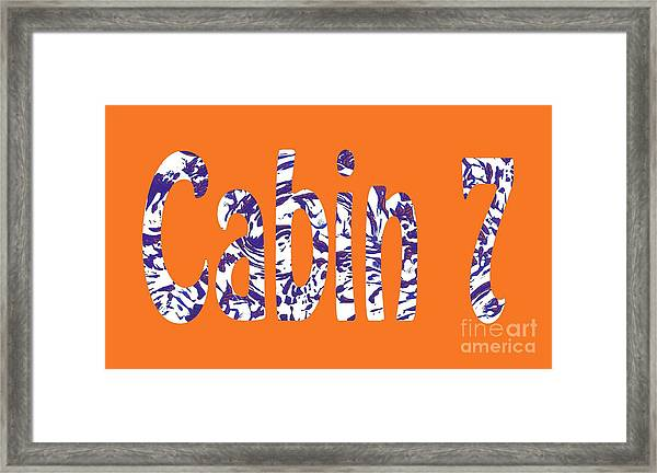 Cabin 7 Blue White Orange Framed Print