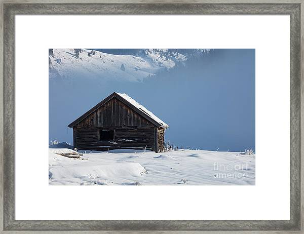 Cabin In The Mists Framed Print