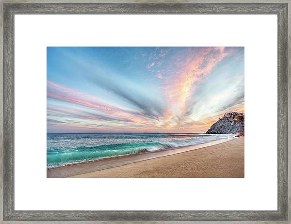 Cabo San Lucas Beach Wave Sunset Framed Print