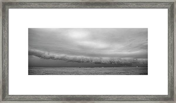 Cactus Roll Cloud Bw Framed Print