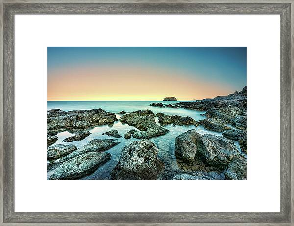 Framed Print featuring the photograph Calm Rocky Coast In Greece by Milan Ljubisavljevic