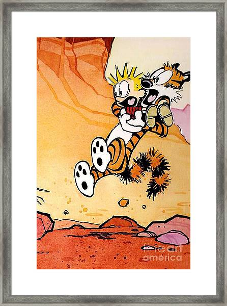 Calvin And Hobbes Surprised Framed Print