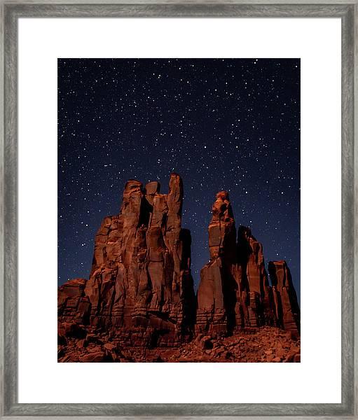 Camel Butte Under The Night Sky Framed Print