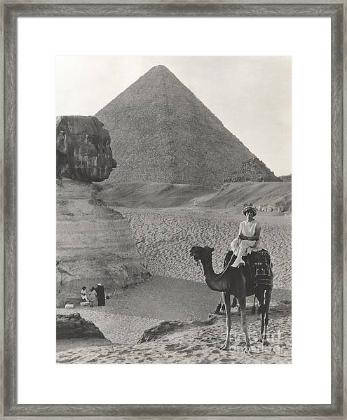 Camel Ride At The Sphinx And Pyramids Framed Print