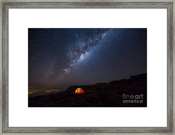 Camping Under The Stars. The Milky Way Framed Print