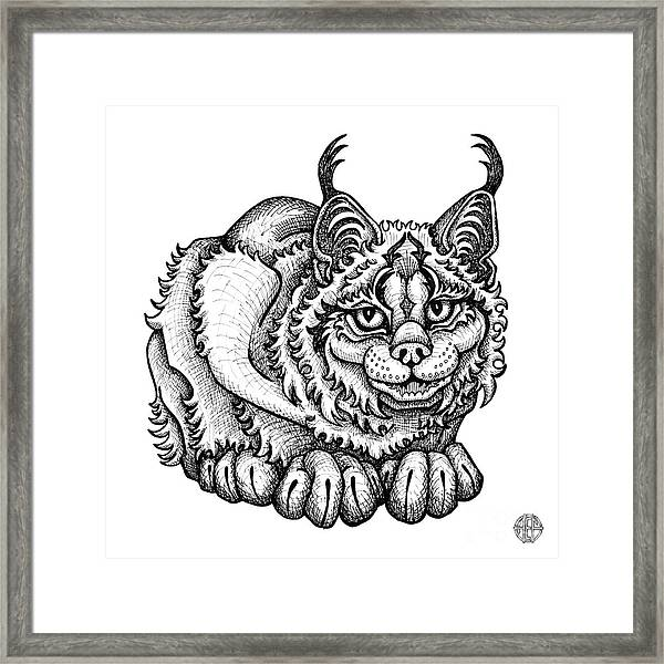 Framed Print featuring the drawing Canada Lynx by Amy E Fraser