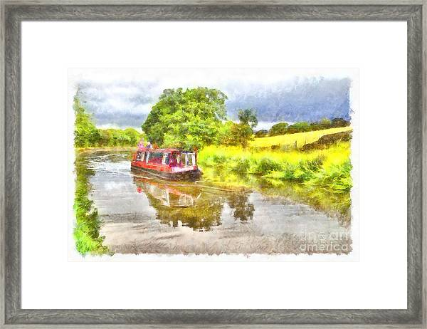 Canal Boat On The Leeds To Liverpool Canal Framed Print