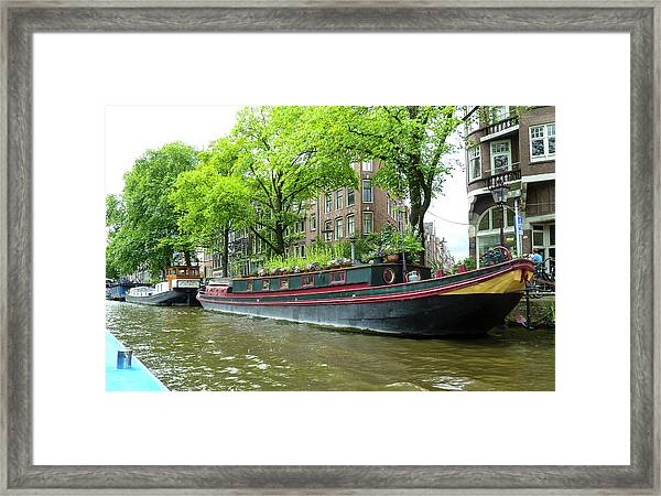 Canal Boats In Amsterdam - 2 Framed Print