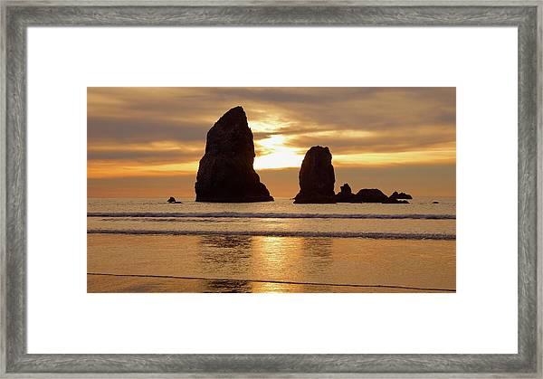 Cannon Beach November Sunset Framed Print