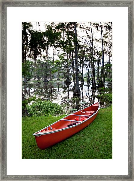 Canoe In Forest, Caddo Lake, Texas, Usa Framed Print