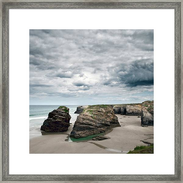 Cantábrico Sea And Rocks On Catedrales Framed Print