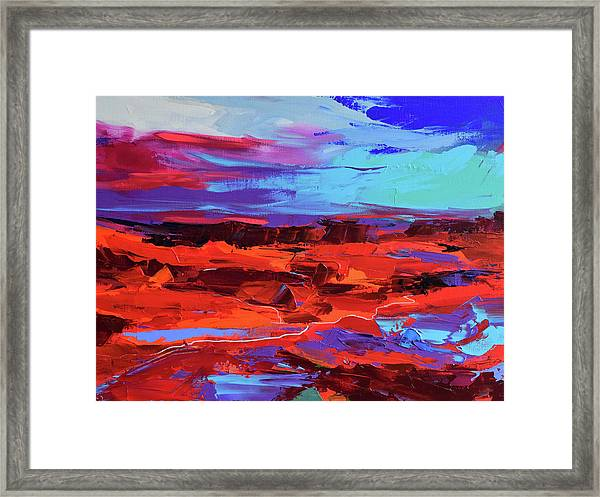 Framed Print featuring the painting Canyon At Dusk by Elise Palmigiani