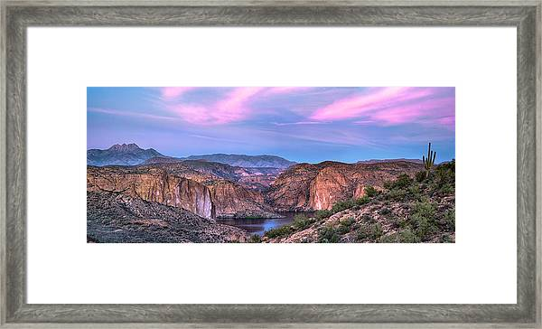 Canyon Lake And Four Peaks Sunset Panorama Framed Print
