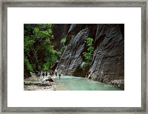 Canyoning In The Narrows, Zion Canyon Framed Print