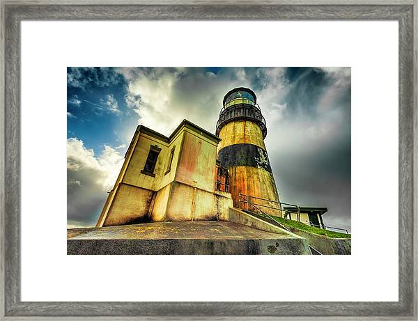 Framed Print featuring the photograph Cape Disappointment Lighthouse Under Dramatic Skies by Dee Browning
