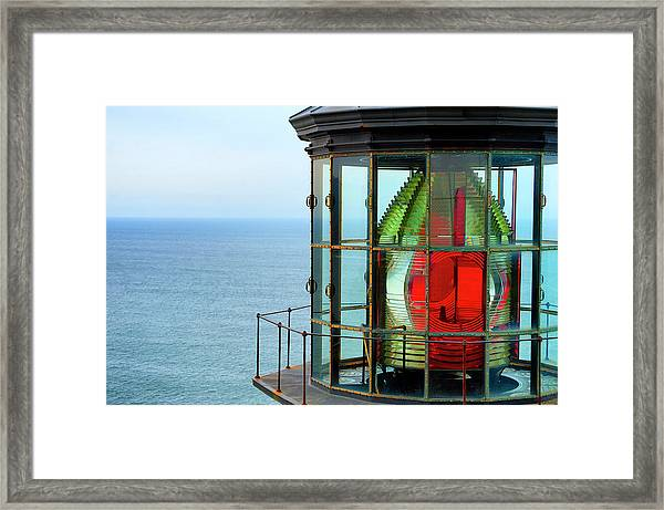 Framed Print featuring the photograph Cape Meares Beacon Light by Dee Browning