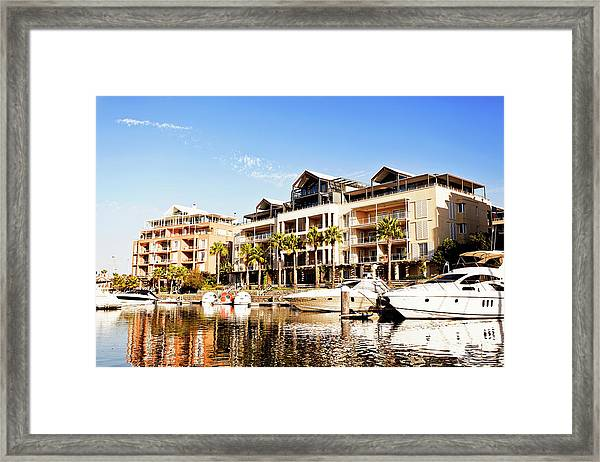 Cape Towns Yacht Basin And Expensive Framed Print
