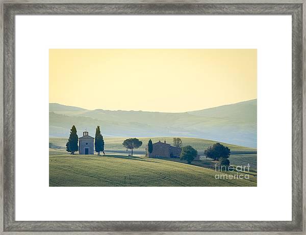 Cappella Di Vitaleta, Val Dorcia Framed Print by Frank Fischbach