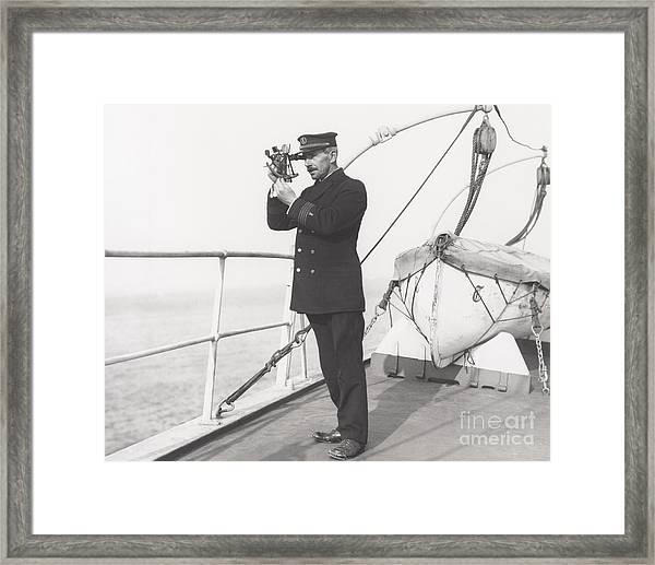 Captain Navigating Ship Framed Print