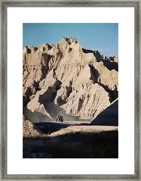 Car Driving Through Rocky Landscape In Framed Print