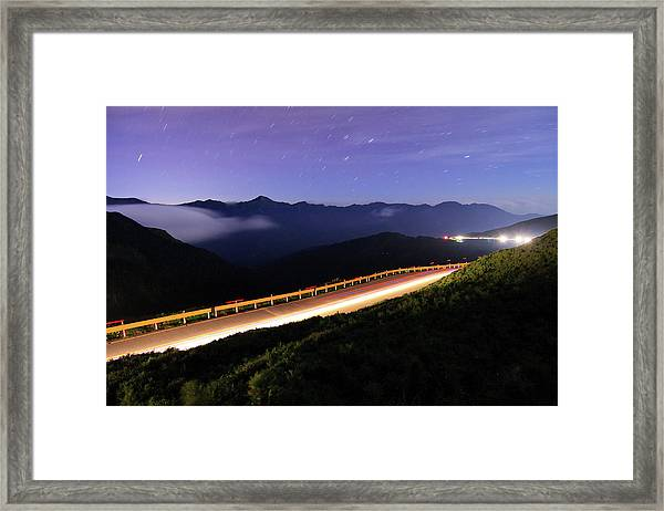 Car Light Trails And Star Trails At Framed Print